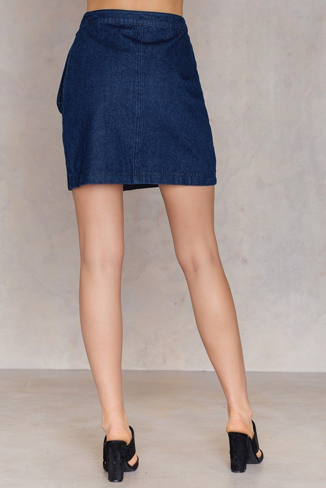 Overlap Denim Skirt Mid Blue