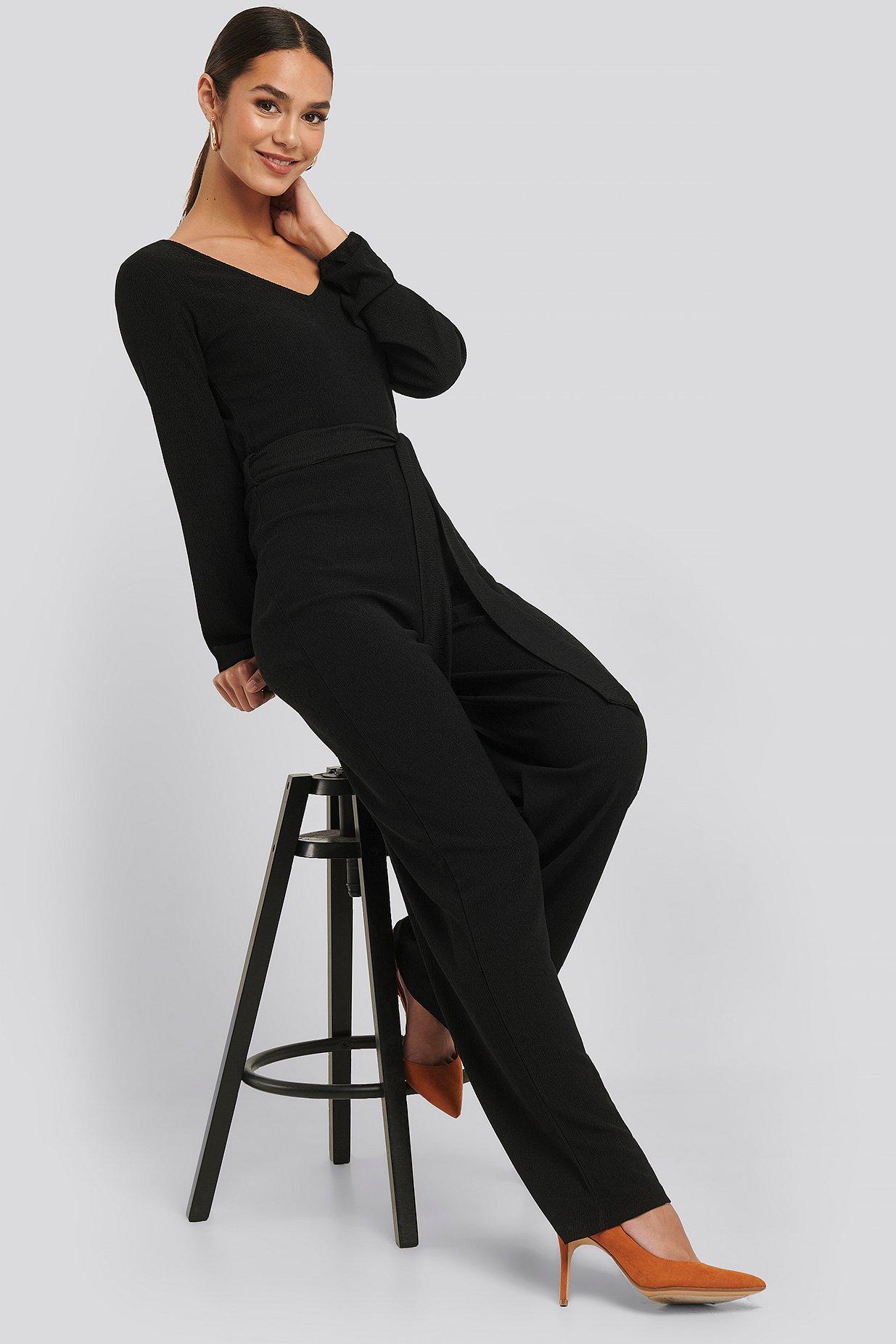 Crinkle Jersey Jumpsuit Schwarz | na-kd.com