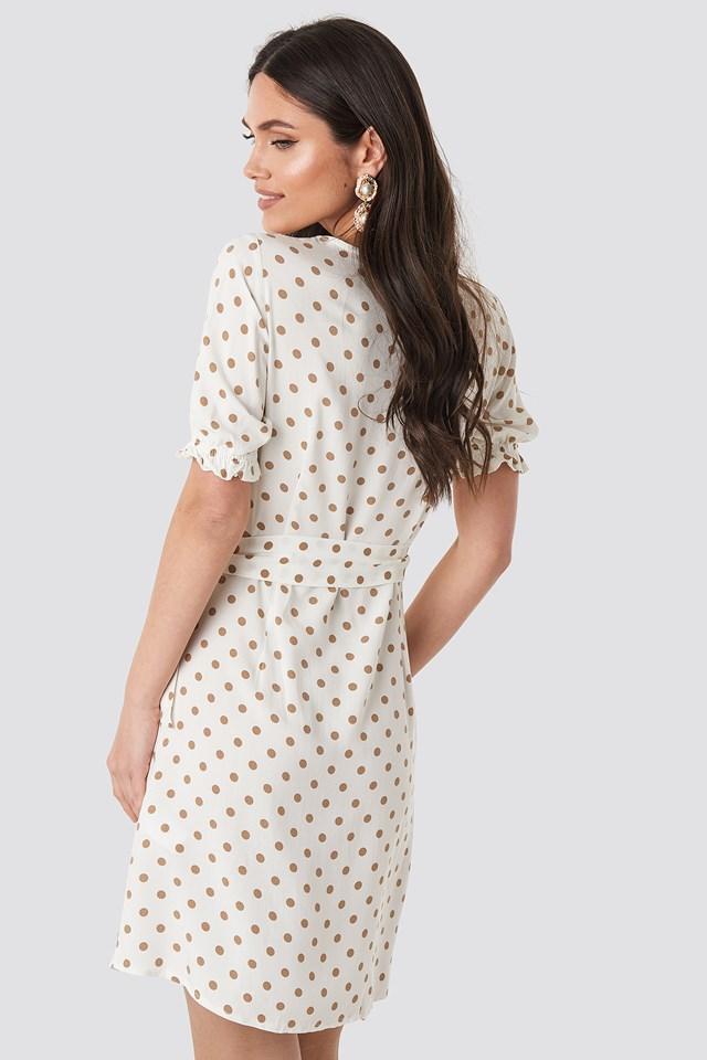 Overlap Dotted Dress White
