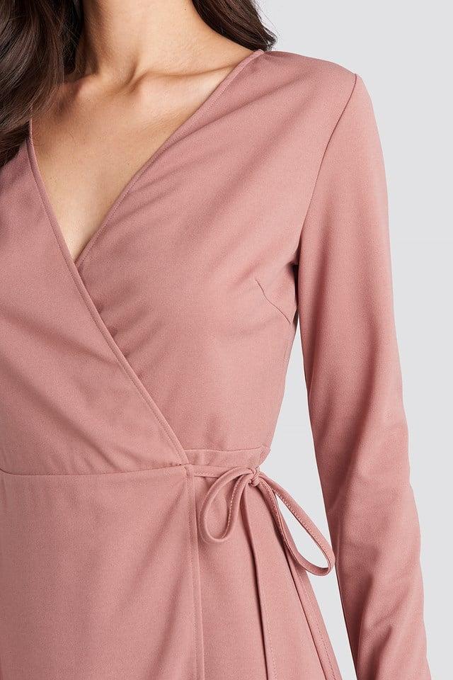 Overlap Dress Dusty Pink