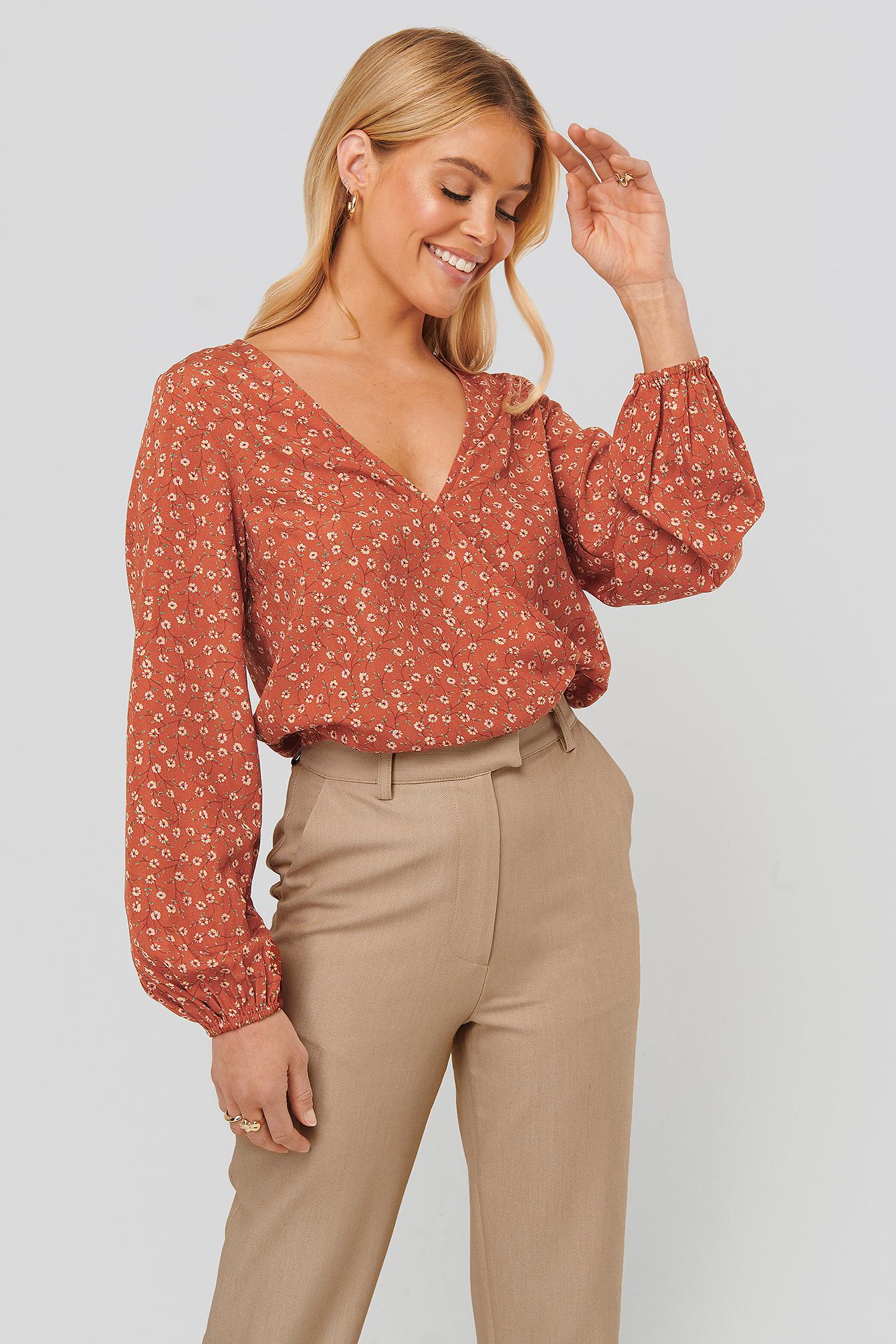 na-kd -  Bluse Mit Blumenaufdruck - Red