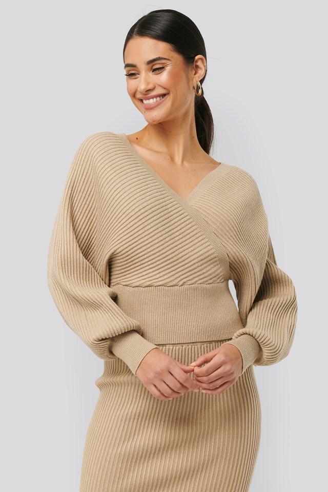 Overlap Glittery Knitted Sweater Beige