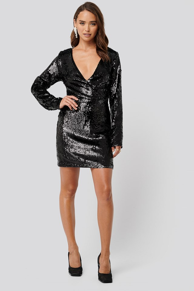 Overlap Heavy Sequin Mini Dress Black