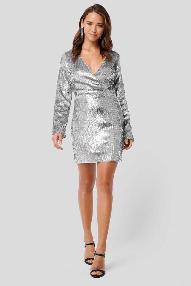 Overlap Heavy Sequin Mini Dress Silver