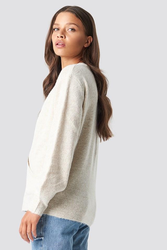 V-Neck Overlap Knitted Sweater Beige