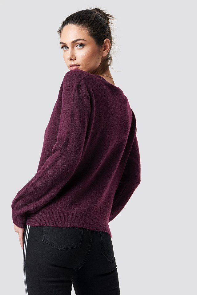 Overlap Knitted Sweater Bordeaux