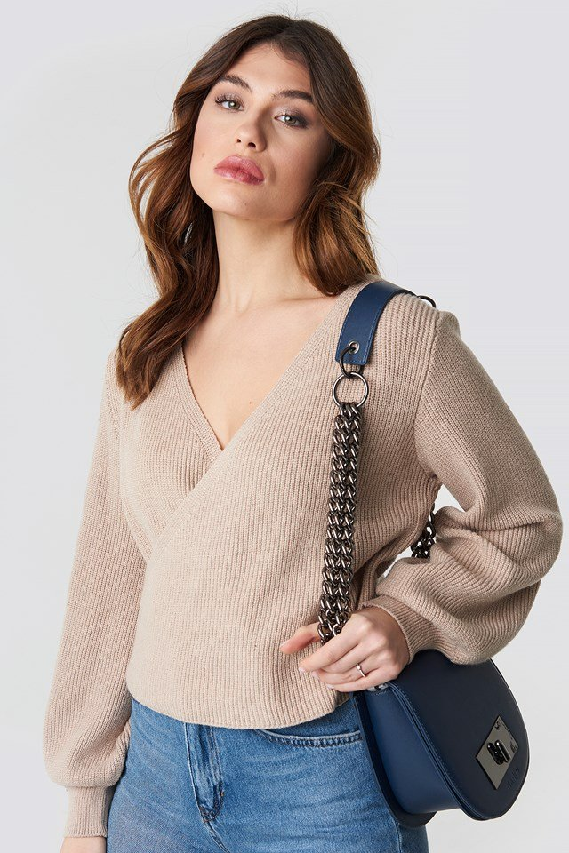 Overlap Knitted Sweater Beige