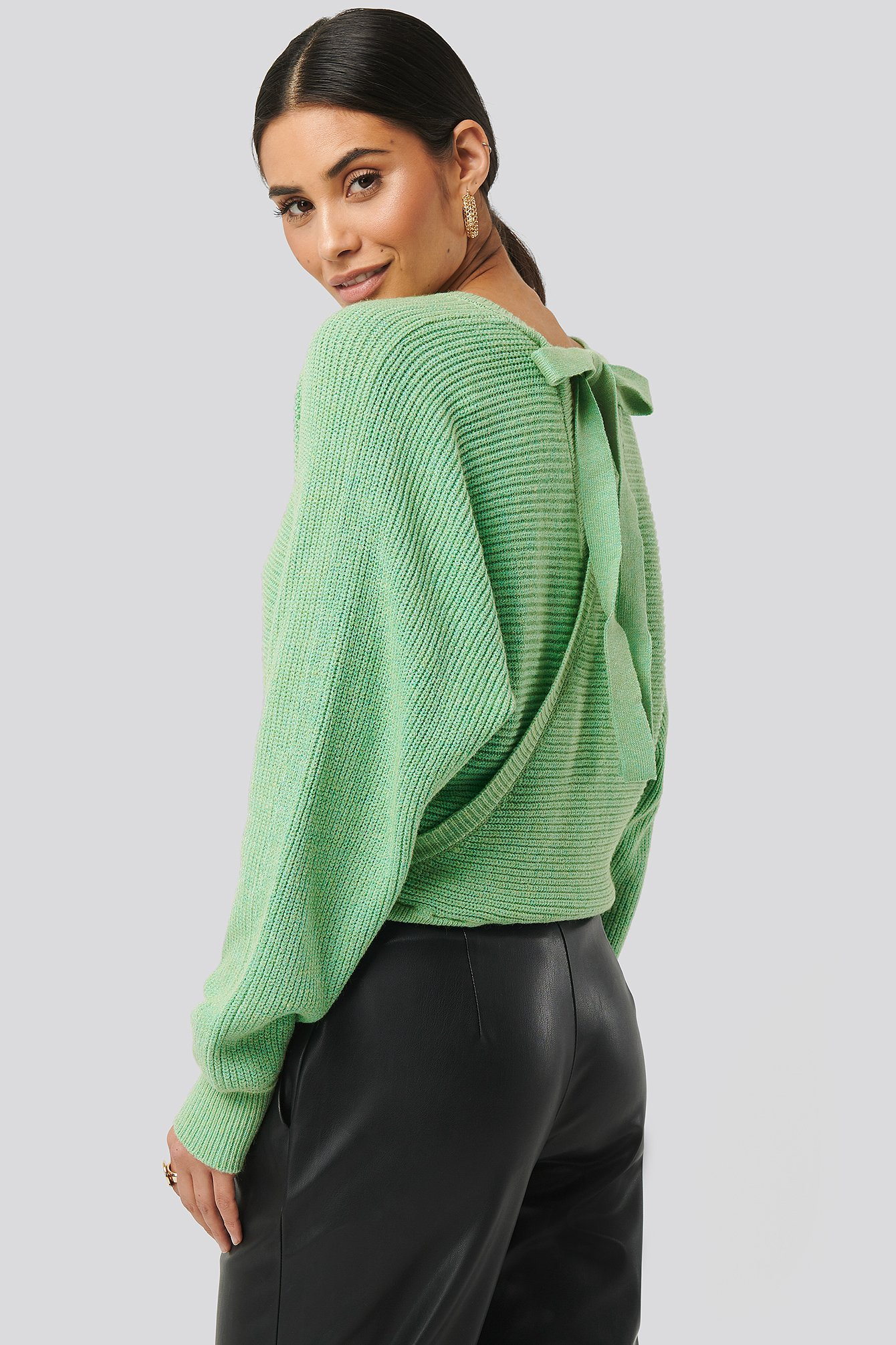 Green Overlap Knitted Tie Detail Sweater