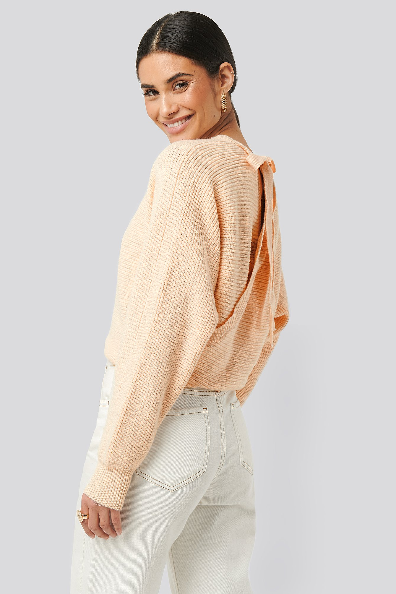 na-kd -  Overlap Knitted Tie Detail Sweater - Pink