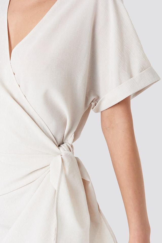 Overlap Knot Mini Dress Light Beige