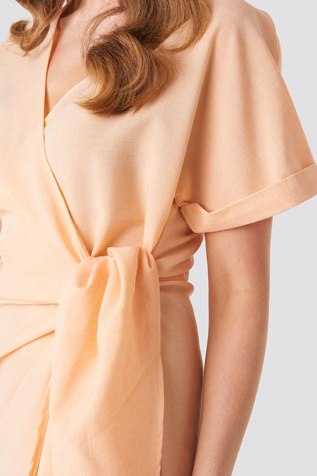 Overlap Knot Mini Dress Apricot