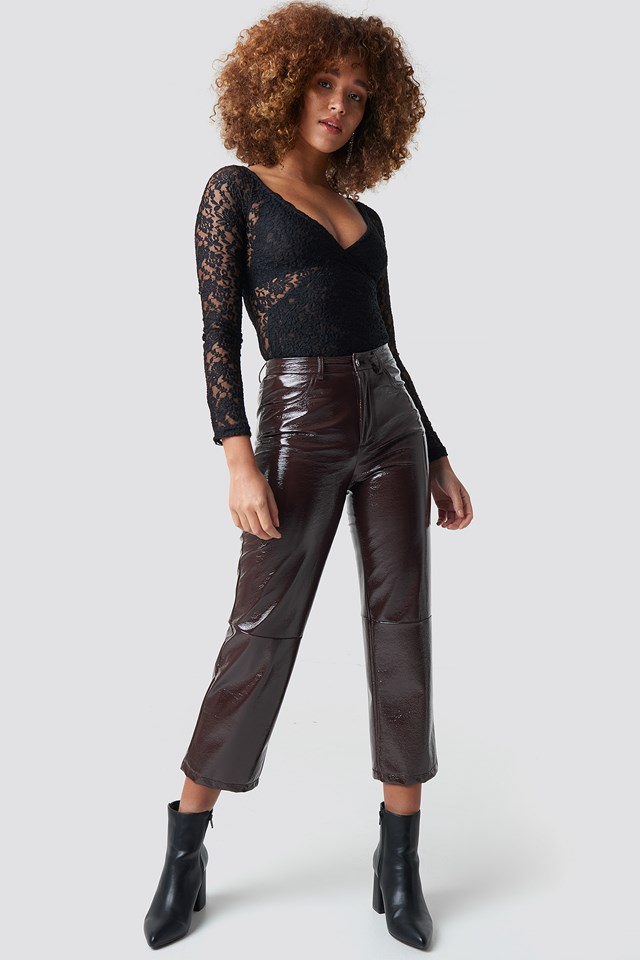 Overlap Lace Top Black