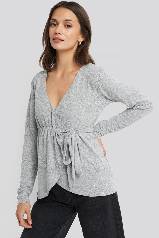 Overlap Light Knitted Sweater Grey Melange