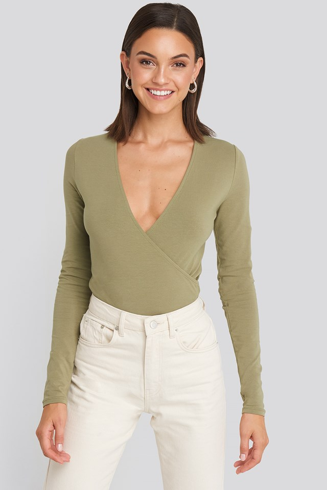 Overlap Long Sleeve Body Khaki
