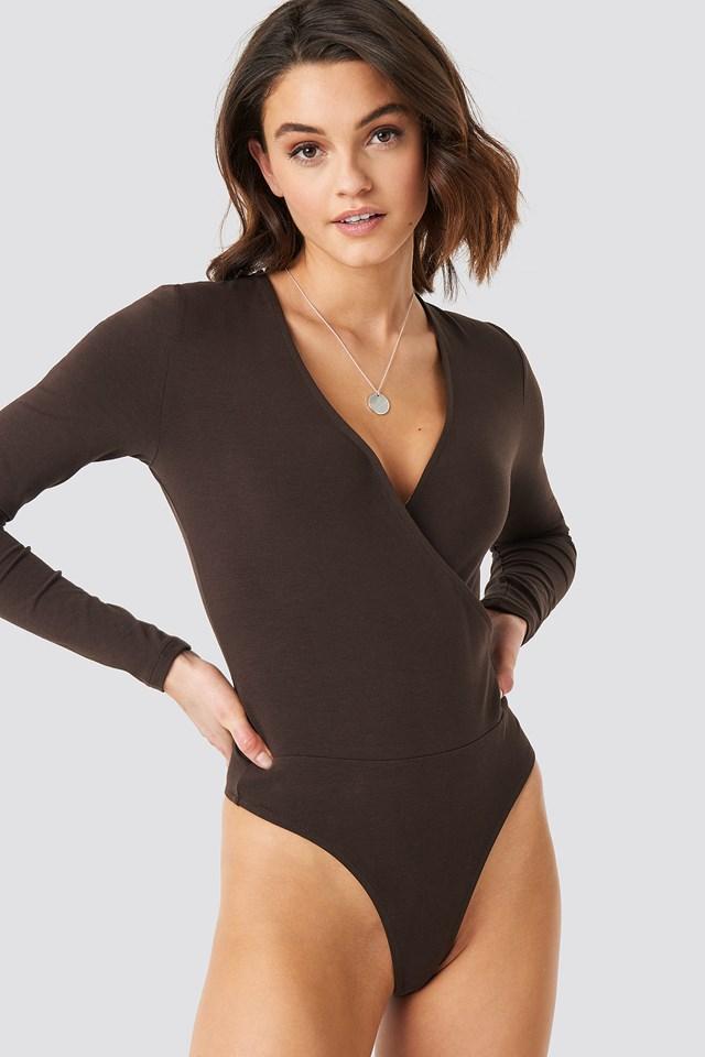 Overlap Long Sleeve Body Brown