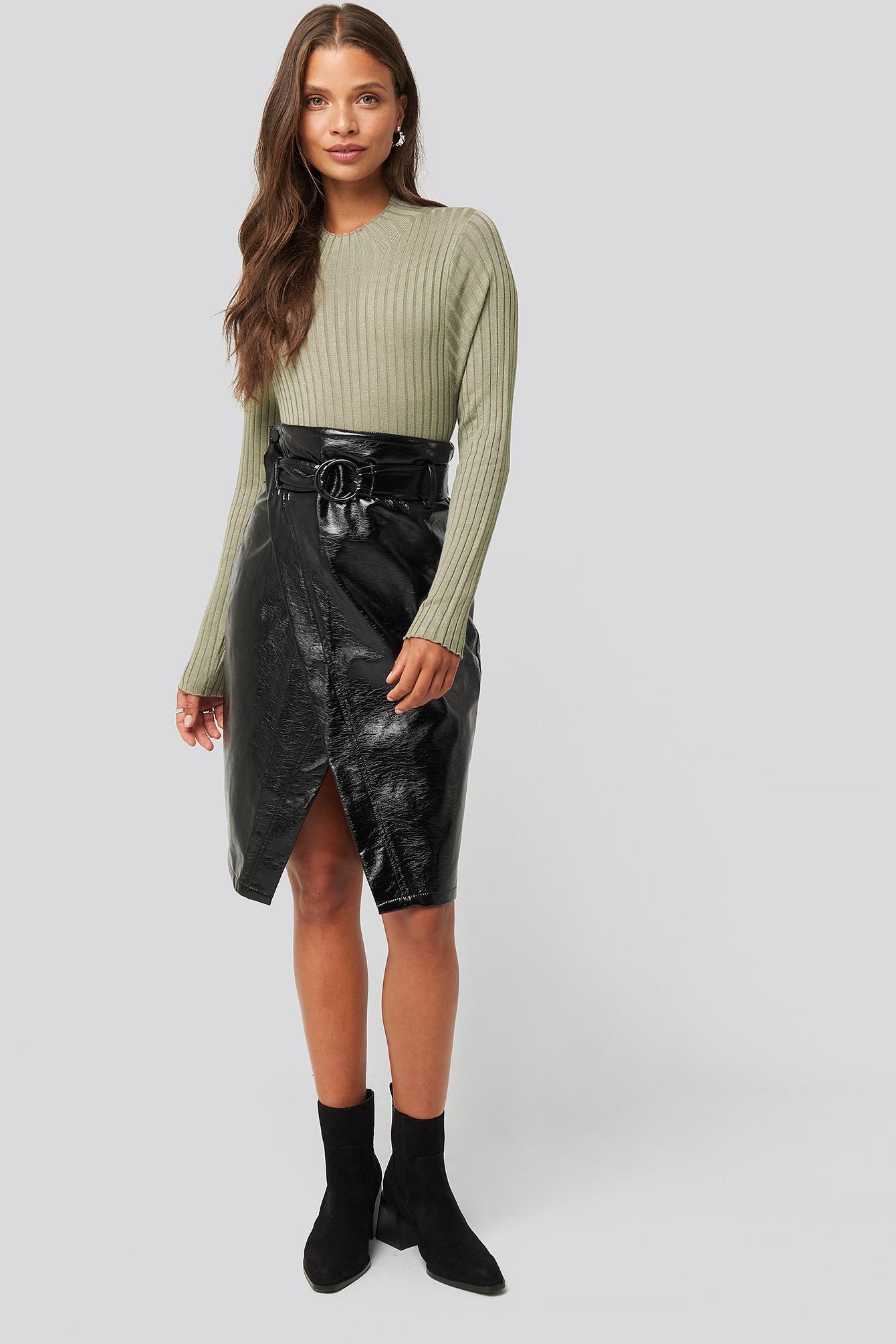 na-kd trend -  Overlap Midi Pu Skirt - Black