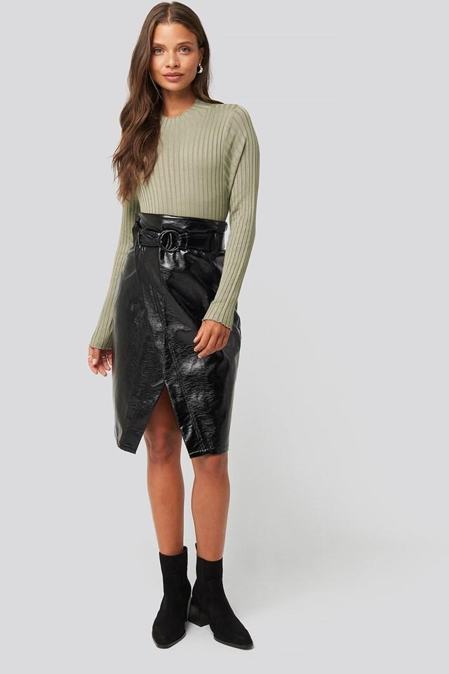 Overlap Midi Pu Skirt Black