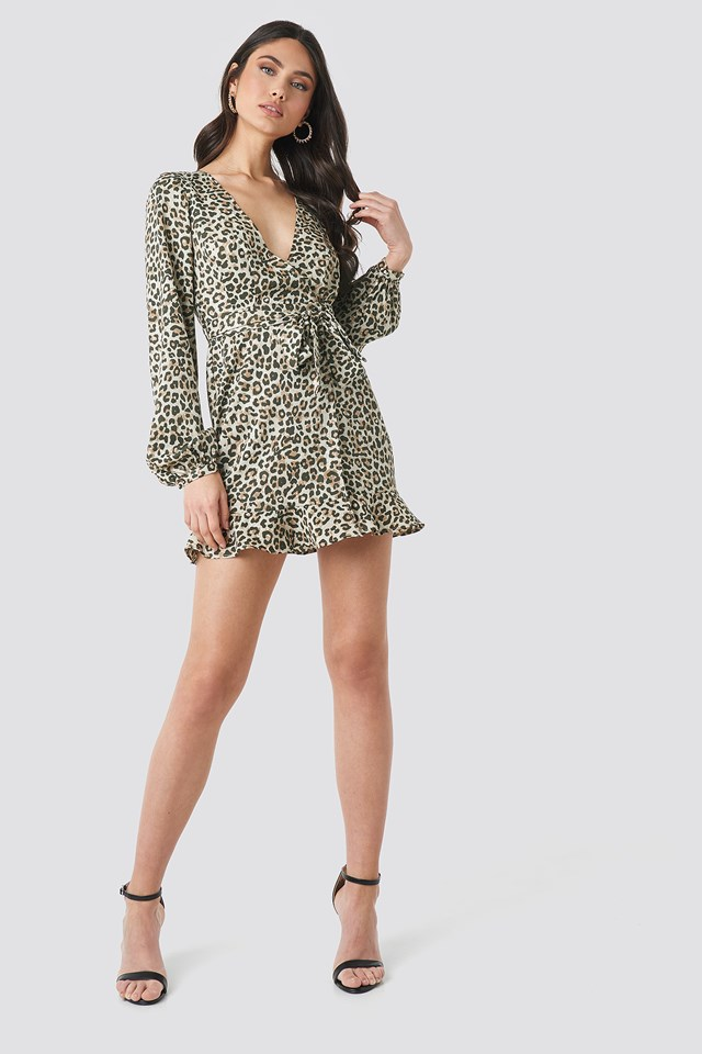 Overlap Mini Dress Leopard