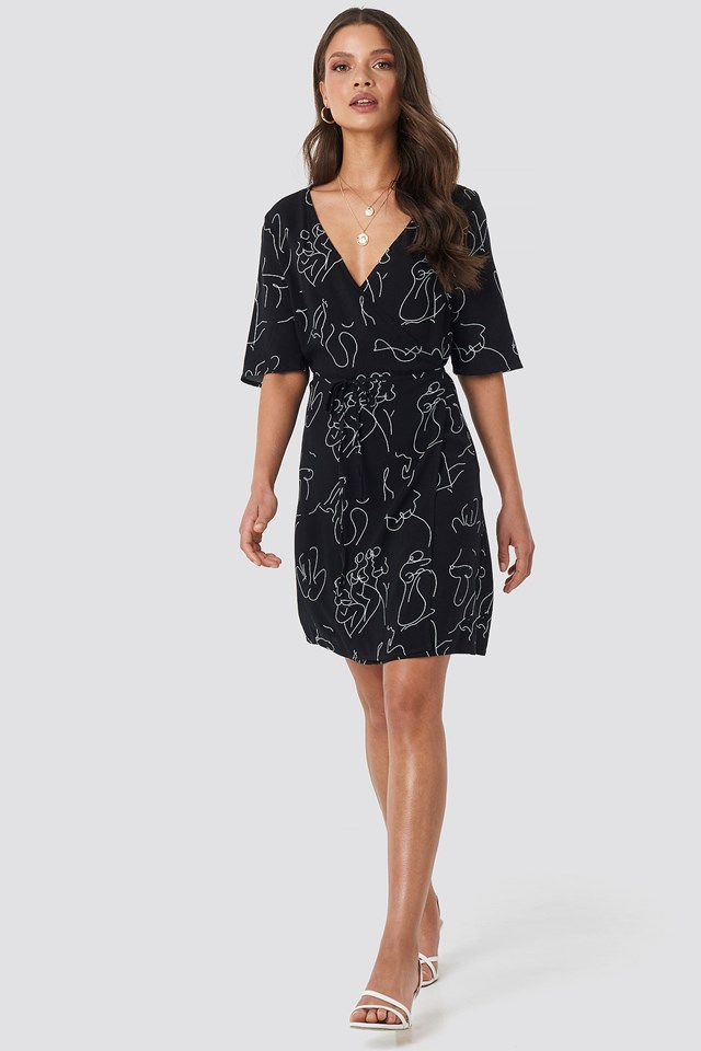 Overlap Mini Dress Black