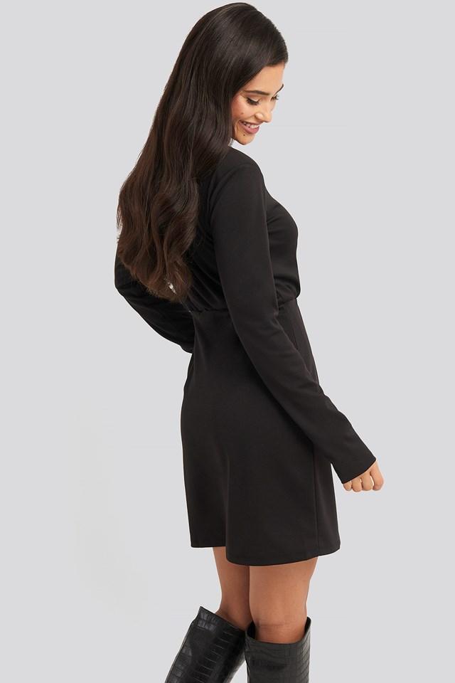 Overlap Padded Shoulder Mini Dress Black
