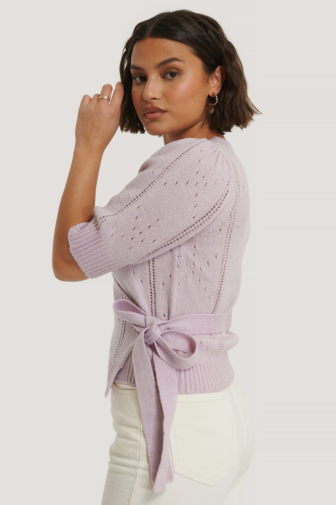 na-kd -  Gemusterter Wickel-Strickpullover - Purple
