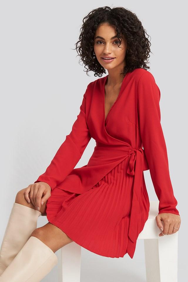 Overlapped Pleat Detailed Mini Dress NA-KD Trend