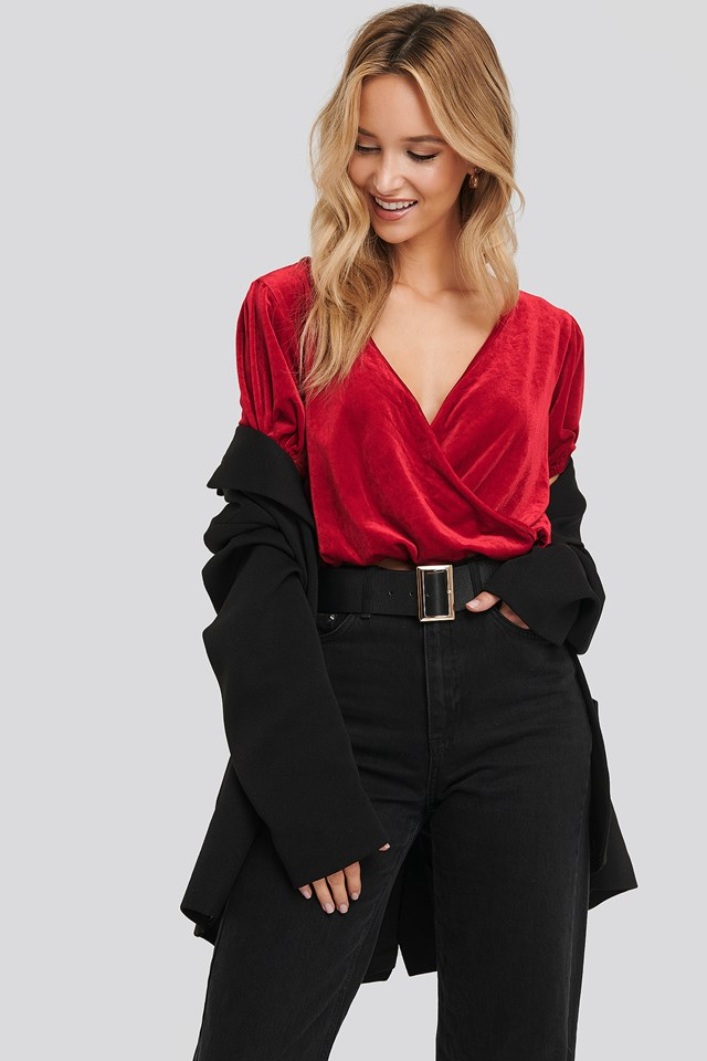 Overlap Puff Sleeve Velvet Top Red
