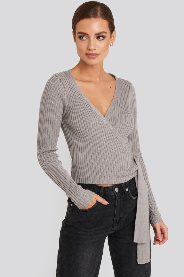 Overlap Ribbed Knitted Sweater NA-KD