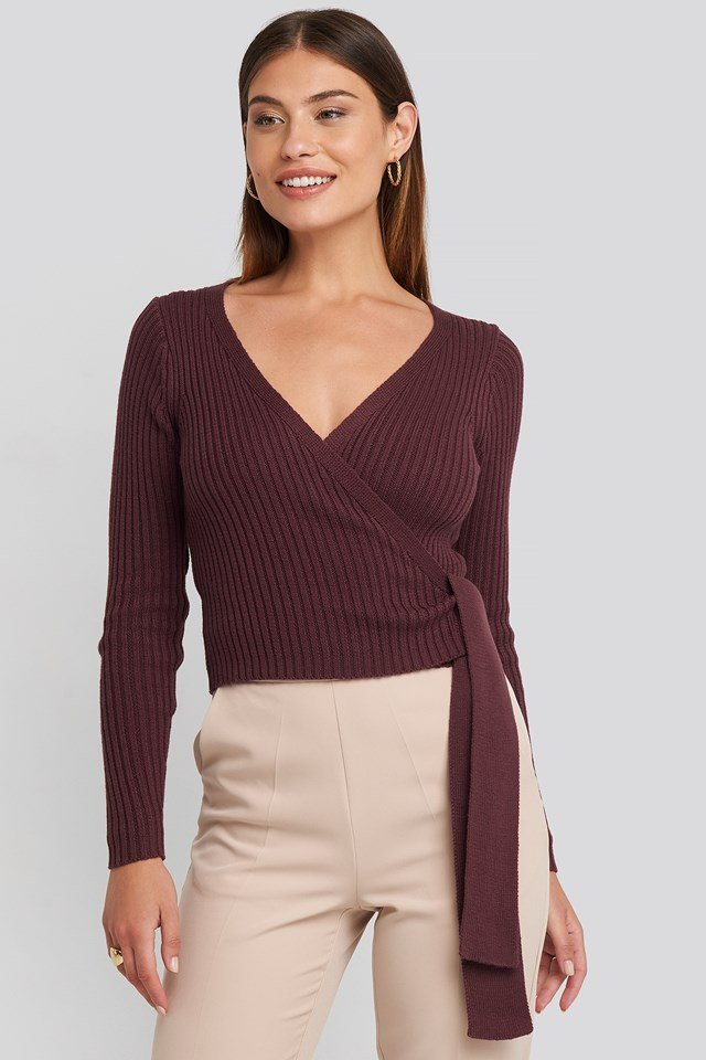 Overlap Ribbed Knitted Sweater Burgundy