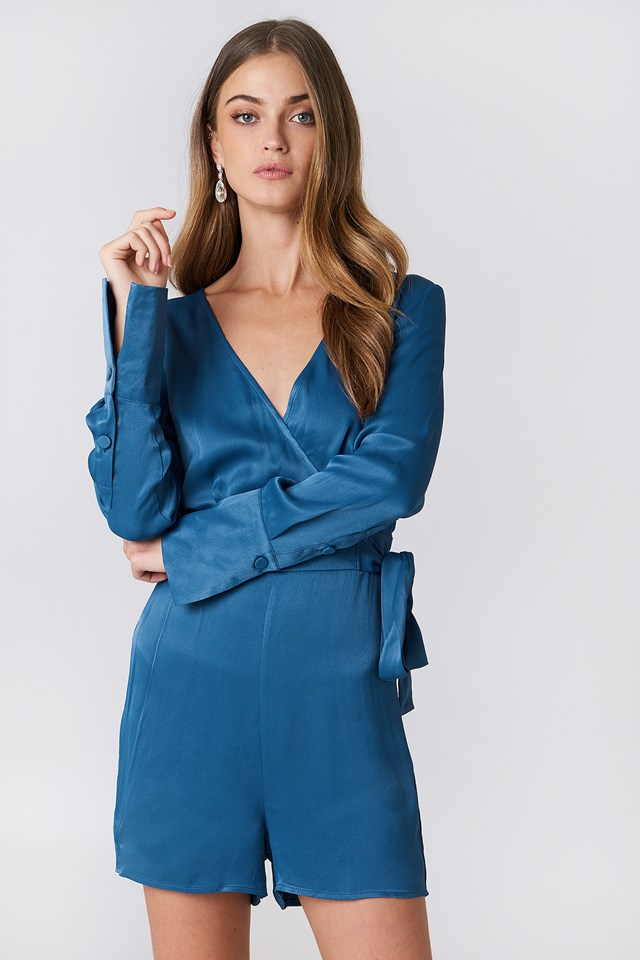 Overlap Satin Playsuit Dark Dusty Blue