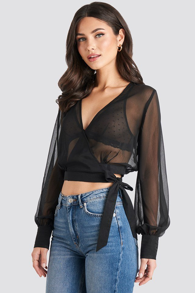 Overlap Sheer Blouse Black