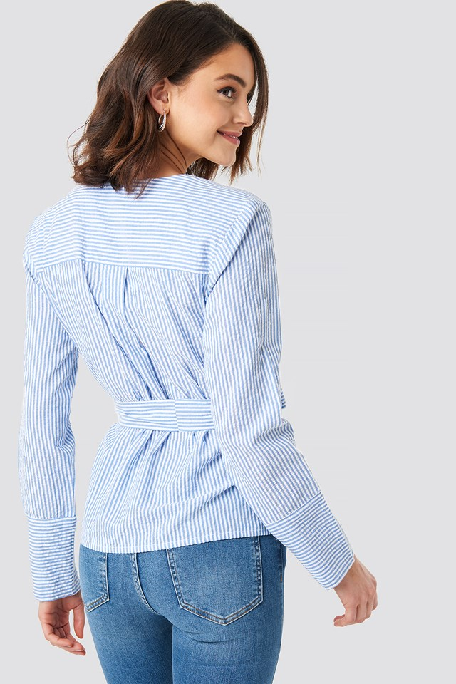 Overlap Striped Blouse NA-KD.COM