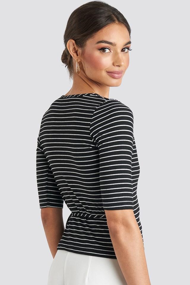 Overlap Striped Top Black