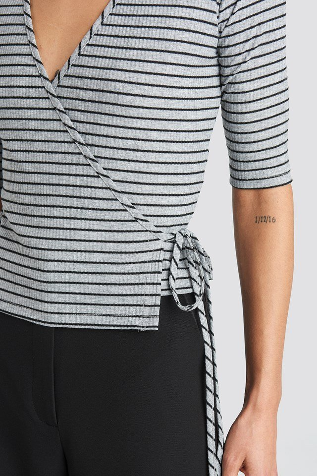 Overlap Striped Top Grey