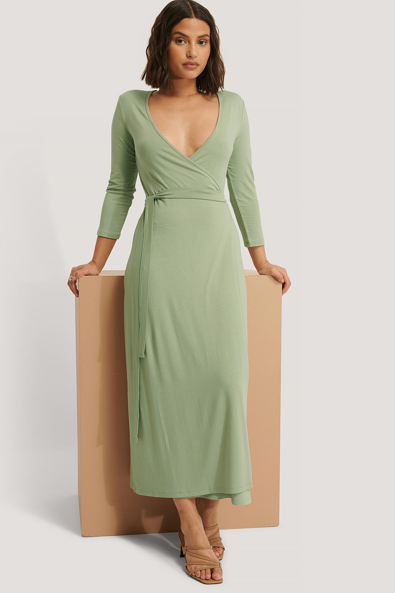 NA-KD Basic Wickelkleid Mit Schnürung - Green | Bekleidung > Kleider > Wickelkleider | NA-KD Basic