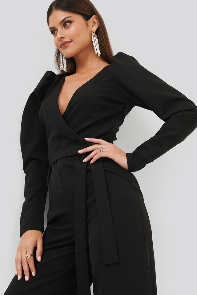 Overlap Tie Jumpsuit Black