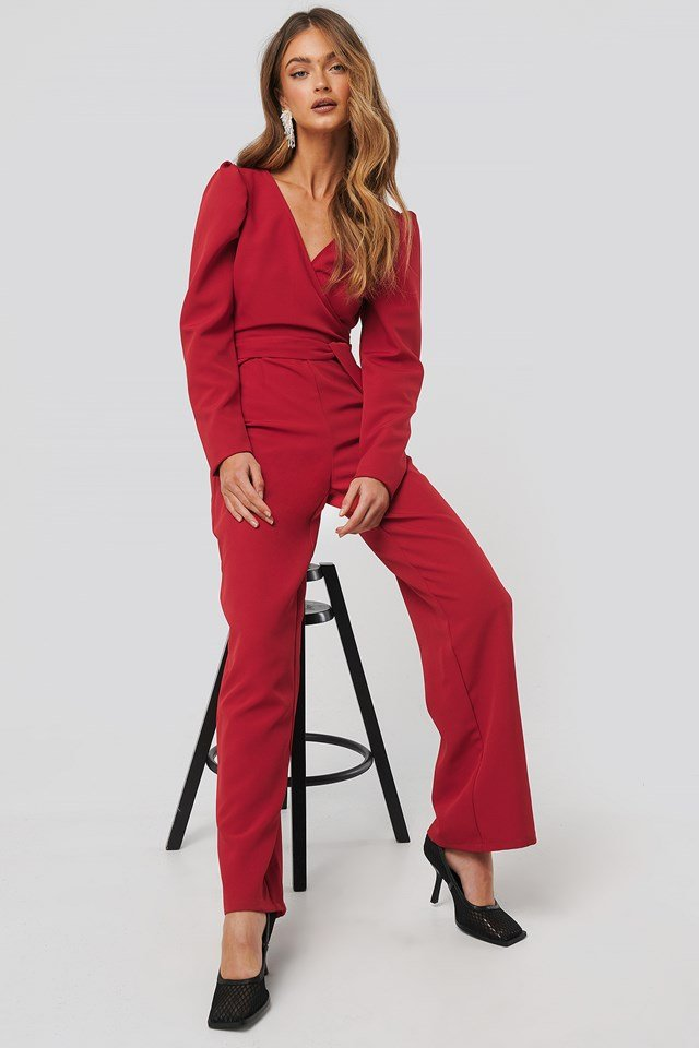 Overlap Tie Jumpsuit Red