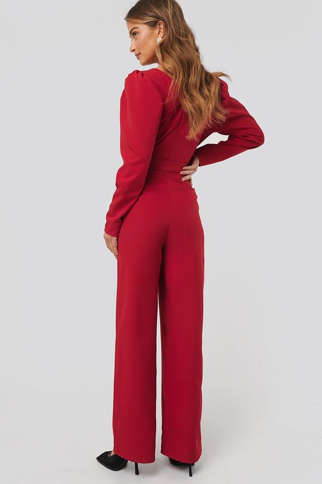 Overlap Tie Jumpsuit Red
