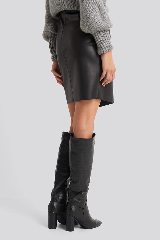 Overlap Tie PU Skirt Black