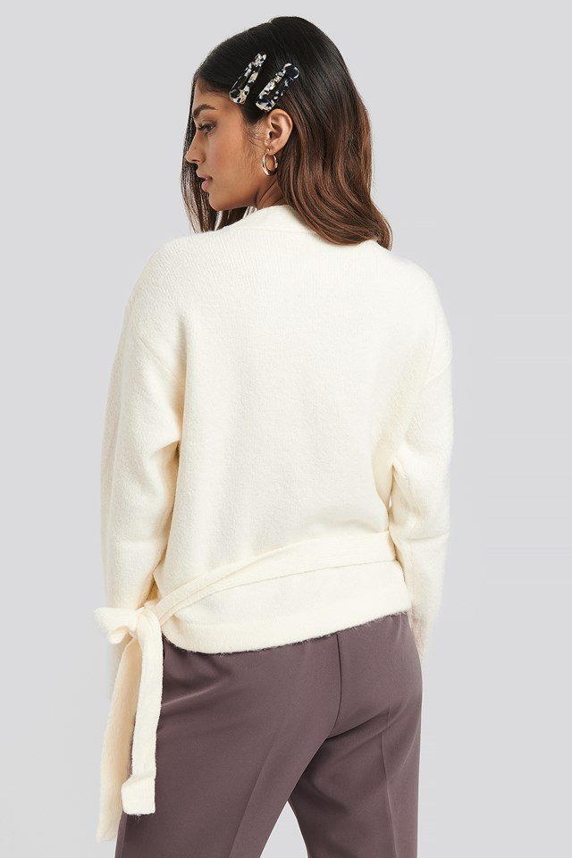 Overlap Tied Knitted Sweater Offwhite