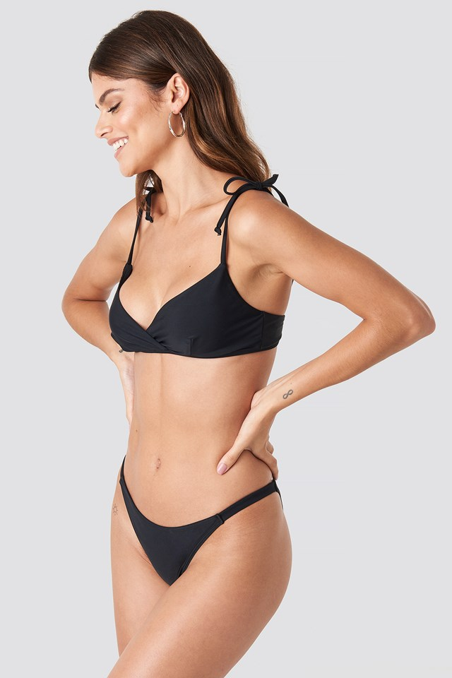Overlap Triangle Bikini Top Black