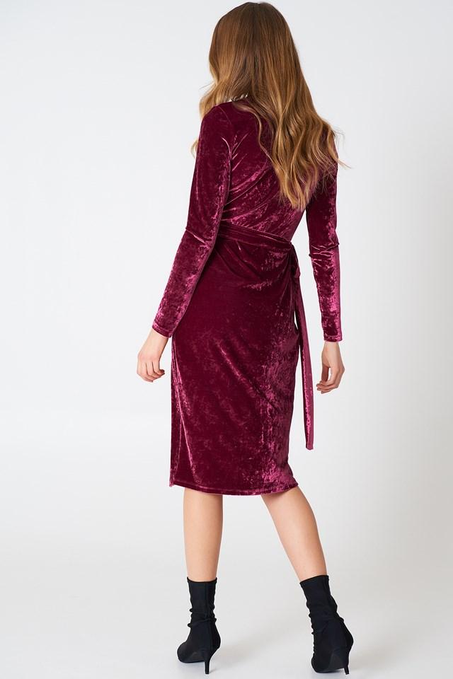 Overlap Velvet Dress Burgundy