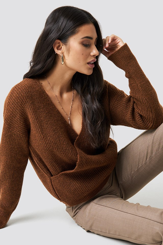 Overlap Wide Cuff Knitted Sweater Brown