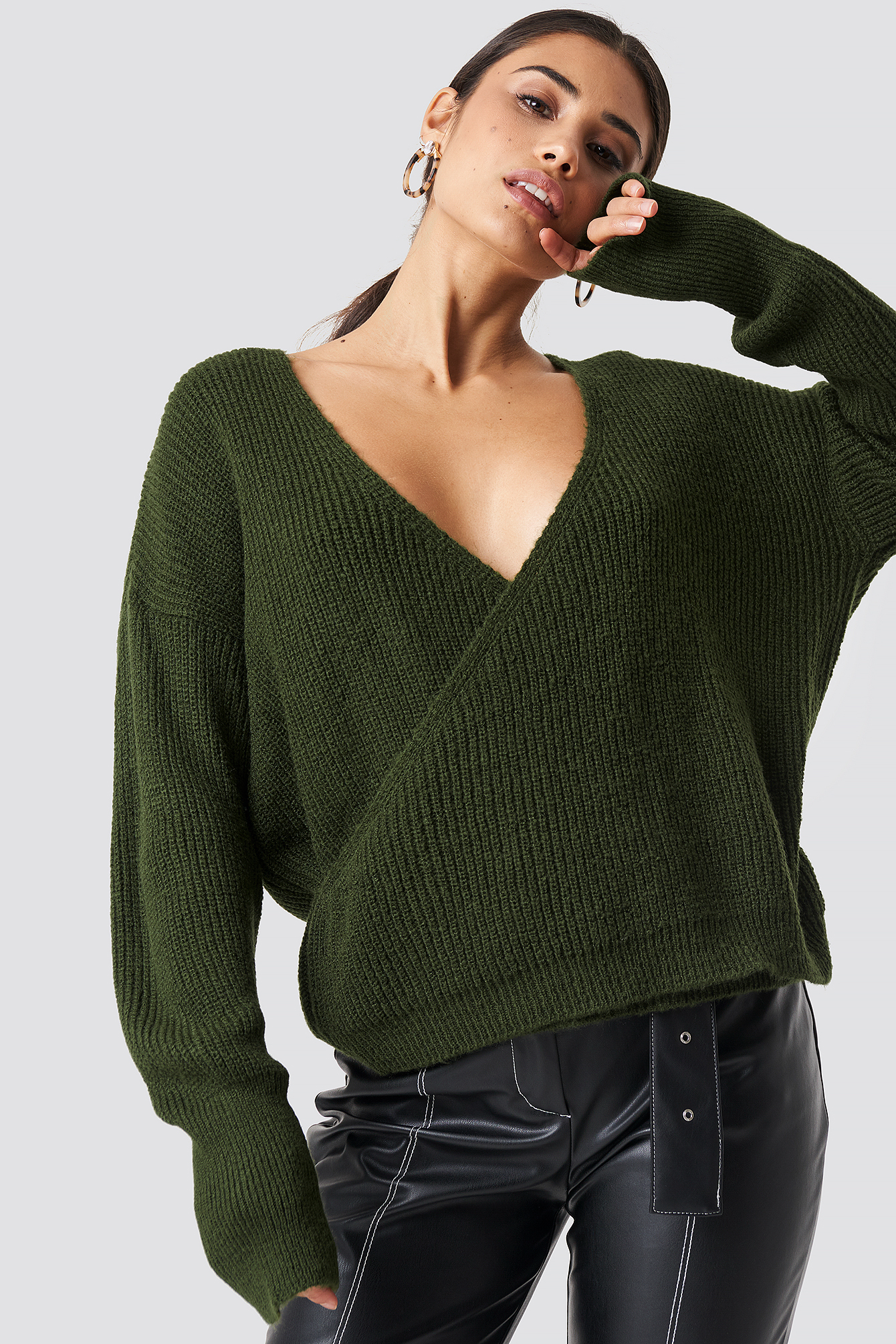 Overlap Wide Cuff Knitted Sweater NA-KD.COM