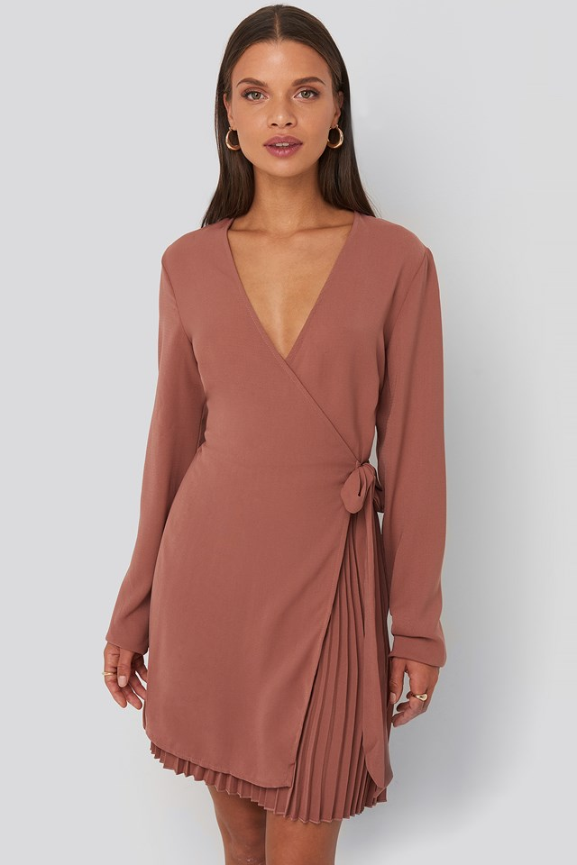 Overlapped Pleat Detailed Mini Dress Dusty Pink Rose