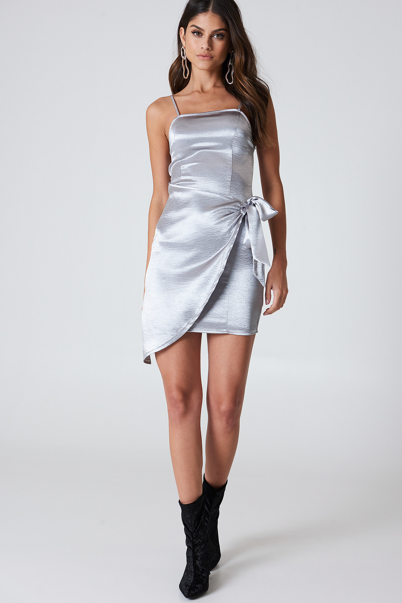 Silver Overlapped Tie Front Dress