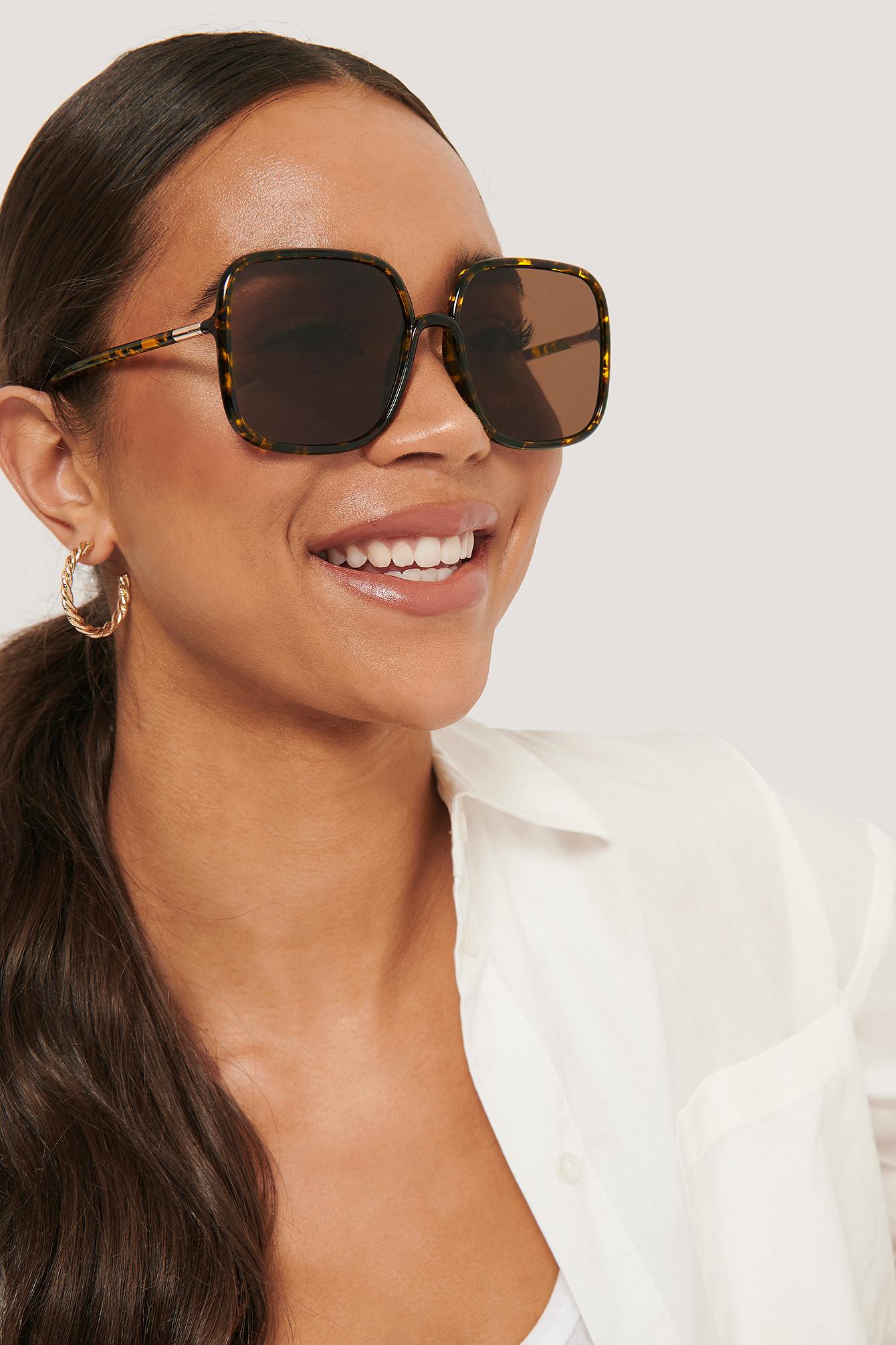 NA-KD Accessories Übergroße 70Er Jahre Retro-Sonnenbrille - Brown | Accessoires > Sonnenbrillen > Sonstige Sonnenbrillen | NA-KD Accessories