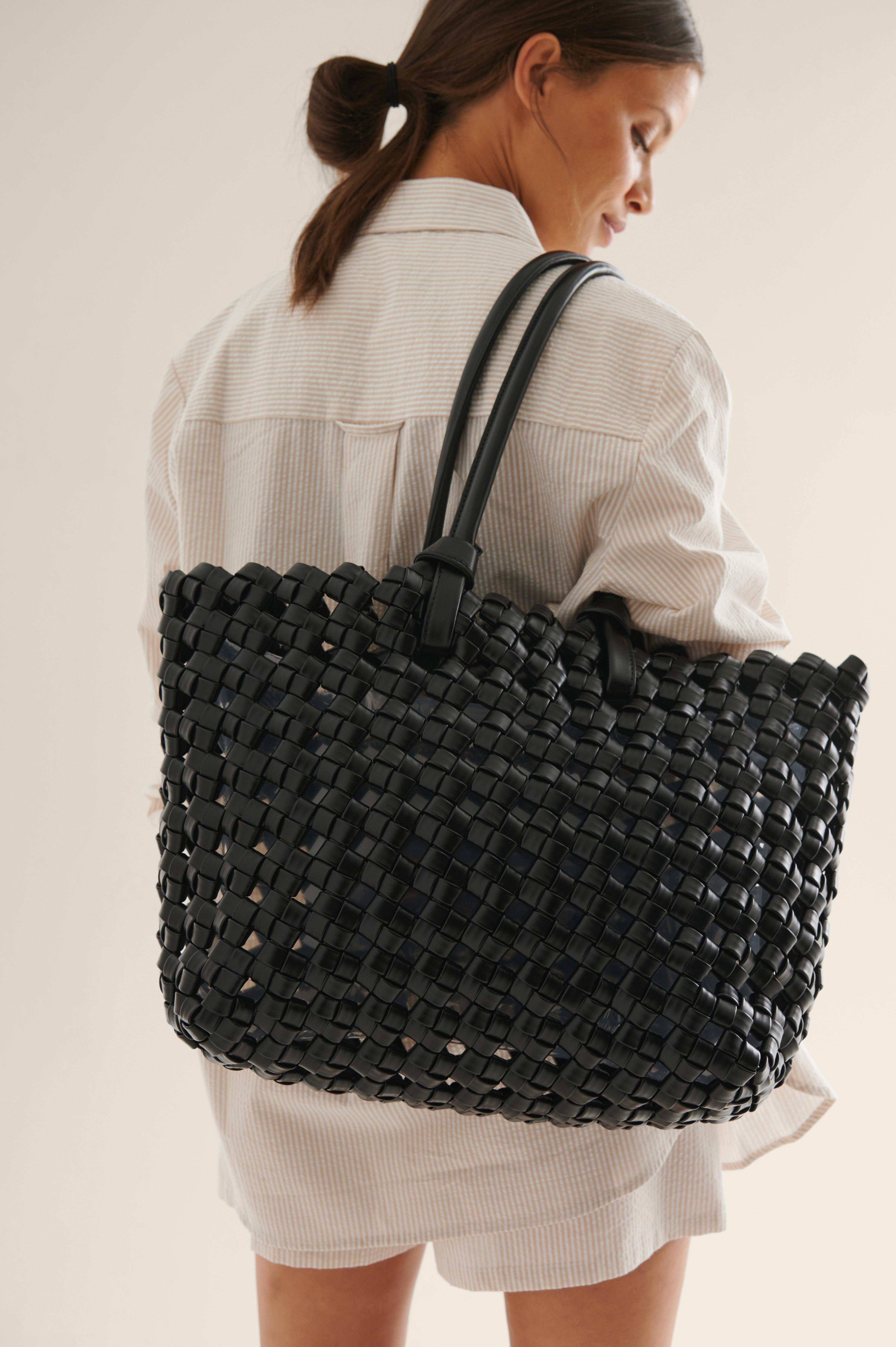 NA-KD Accessories Oversized Stor Flettet Shopper - Black