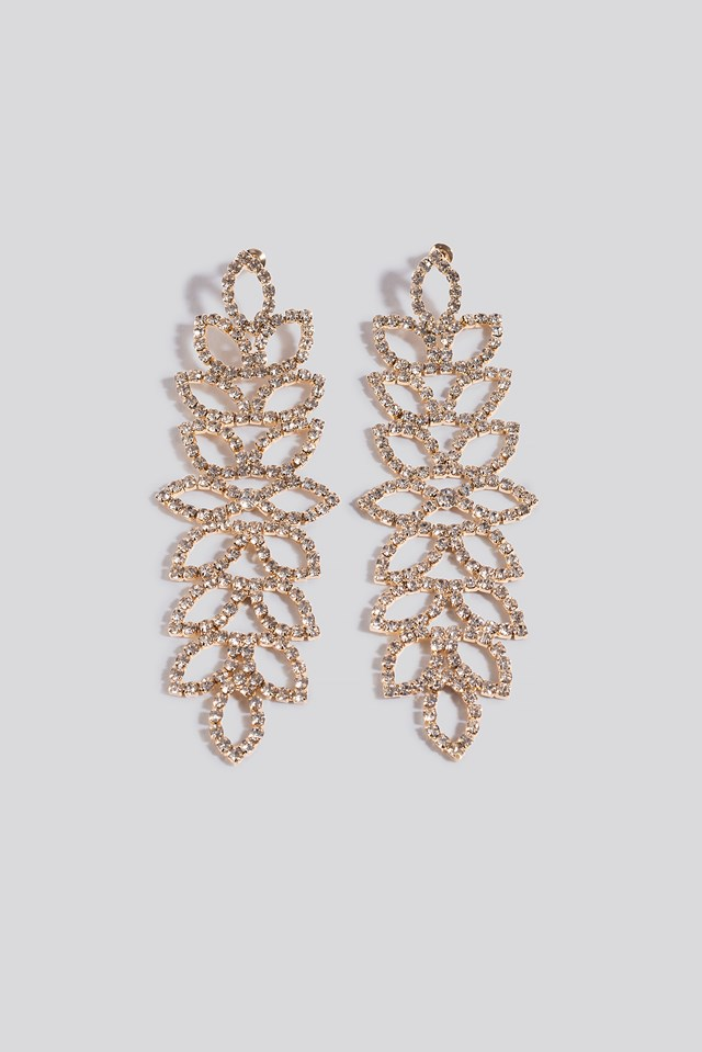 Oversize Blossom Look Rhinestone Earrings NA-KD Accessories