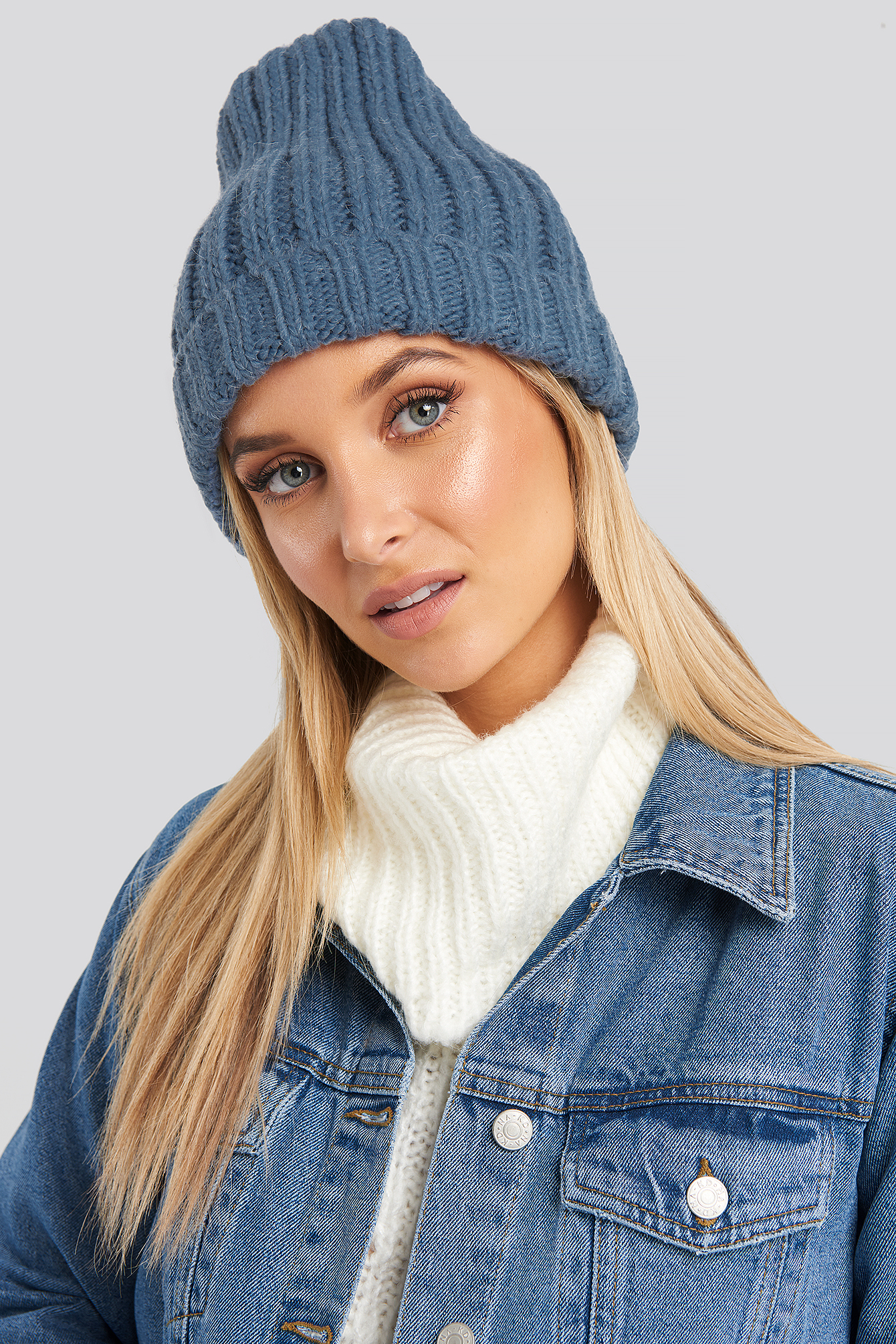 NA-KD Accessories Oversize Chunky Beanie - Blue | Accessoires > Mützen > Beanies | NA-KD Accessories